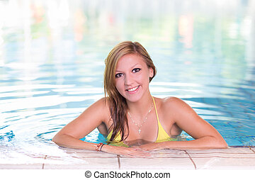 natation, femme, pool., jeune