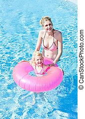 natation, fille, piscine, elle, mère
