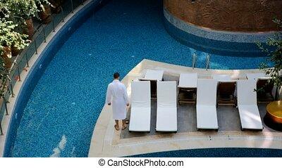 natation, homme, peignoir, piscine, jeune