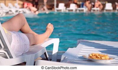 natation, jambes, piscine, femmes