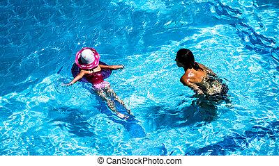 natation, jouer, enfants, piscine