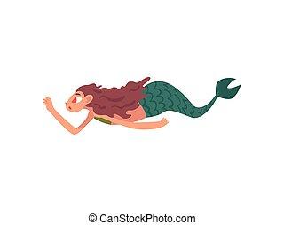 natation, mignon, peu, mythique, rigolote, conte fées, caractère, illustration, vecteur, dessin animé, sirène, créature