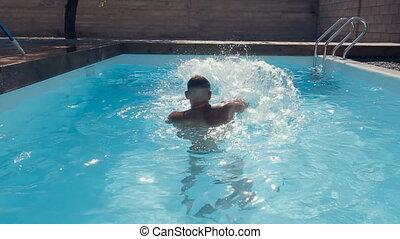 natation, mouvement, dehors, troncs, piscine, lent, types, amusement, avoir, irrigation
