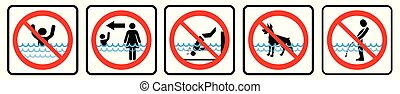 natation, rules., piscine, ensemble, symbole, icônes