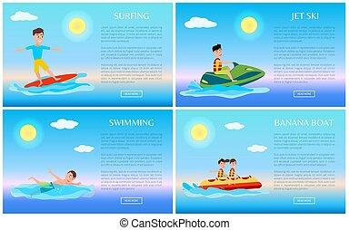 natation, surfer, jet-ski, banane, bateau