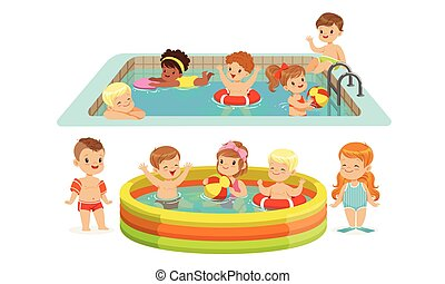 natation, vecteur, pool., enfants, illustration.