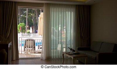 natation, vue., piscine, chambre hôtel, confortable