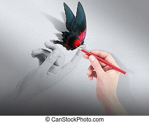 natchnienie, pojęcie, z, piękny, motyl