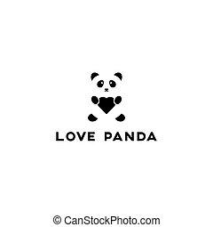 natchnienie, przestrzeń, wizerunek, wektor, odmowa, miłość, logo, panda