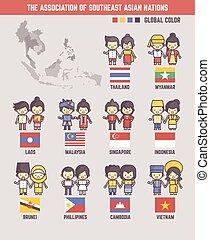 naties, zuid oost aziatisch, karakters, spotprent, vereniging