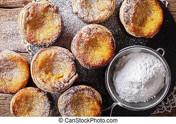 natillas, pastel, pasteles, cima, de, delicioso, close-up., nata, crema, horizontal, vista