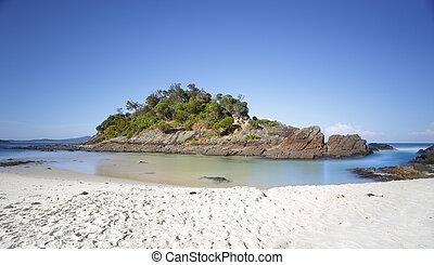 natio, klipper, liden, ø, strand, lukke op, søer, æn, myall, antal