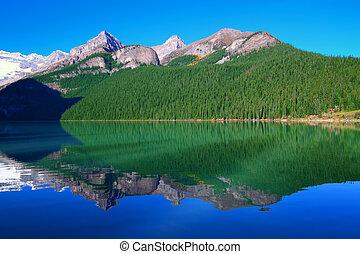 nationaal park, meer, banff, louise