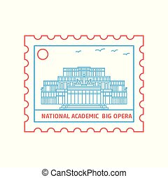 NATIONAL ACADEMIC; BIG OPERA postage stamp Blue and red Line Style, vector illustration