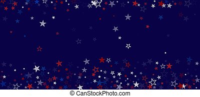National American Stars Vector Background. USA 11th of November Labor Veteran's President's 4th of July Memorial Independence Day Pattern. American Blue, Red, White Falling Stars. US Election Design.