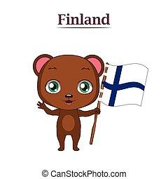 National animal bear with Finnish flag