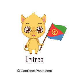 National animal camel holding the flag of Eritrea