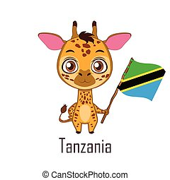National animal giraffe holding the flag of Tanzania