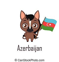 National animal horse holding the flag of Azerbaijan