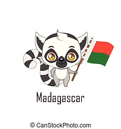 National animal lemur holding the flag of Madagascar