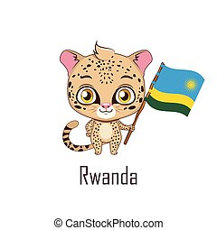 National animal leopard holding the flag of Rwanda