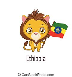 National animal lion holding the flag of Ethiopia
