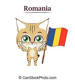 National animal lynx with Romanian flag