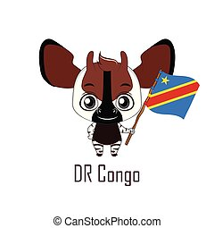 National animal okapi holding the flag of D.R.Congo