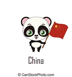 National animal panda holding the flag of China