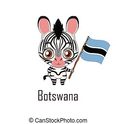 National animal zebra holding the flag of Botswana