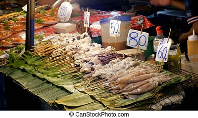 National Asian Exotic Seafood on a Stick in the Showcase of...
