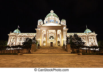 National Assembly at the night, Belgrade, Serbia