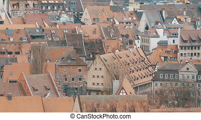 National authentic German red roofs in Nuremberg, Bavaria, Germany.