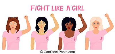 National Breast Cancer Awareness Month. A group of multiethnic women with a pink ribbon raised their fists. Banner Fight like a girl