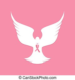 National Breast Cancer Awareness Month. Pink ribbon. White dove. Flying bird