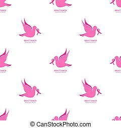 National Breast Cancer Awareness Month seamless pattern. Flying pigeon with pink ribbon on a white background.