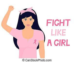 National Breast Cancer Awareness Month. Woman with a pink ribbon on T-shirt raised fist up. Banner Fight like a girl