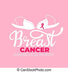 National Cancer Awareness Month banner with bra and a pink ribbon
