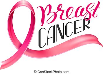 National Cancer Awareness Month Pink ribbon and type text