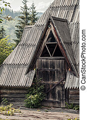 National Carpathian wooden house in the woods