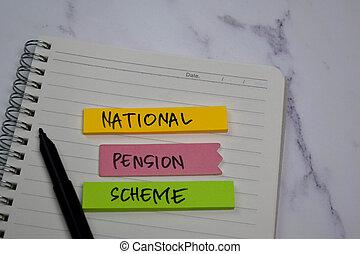 national, collant, texte, bureau, pension, isolé, bureau, notes, plan