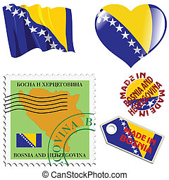 national colours of Bosnia - set of different symbols in...