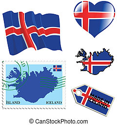 national colours of Iceland - set of different symbols in...
