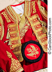 National costume of Montenegro, male hat and the upper part of the costume. Handmade costume.