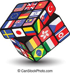 national, cube, drapeaux