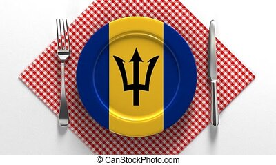 National cuisine and dishes of Barbados. Delicious recipes. Flag on a plate with food from Barbados
