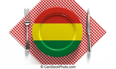 National cuisine and dishes of Bolivia. Delicious recipes. Flag on a plate with food from Bolivia