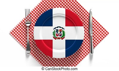 National cuisine and dishes of the Dominican Republic. Flag on a plate with food from Dominican Republic.