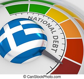 Cholesterol meter read high level of national debt result. Color scale with arrow from red to green. The measuring device icon. Colorful infographic gauge element. 3D rendering. Flag of Greece