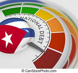 Cholesterol meter read high level of national debt result. Color scale with arrow from red to green. The measuring device icon. Colorful infographic gauge element. 3D rendering. Flag of Cuba